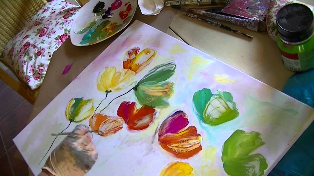 floral painting demo acrylbild tutorial blumen im. Black Bedroom Furniture Sets. Home Design Ideas