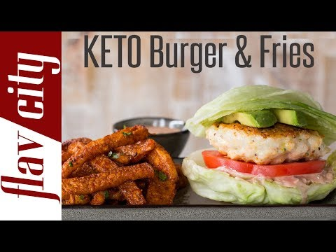 Low Carb Shrimp Burger &  Jicama Fries - Keto Diet Meal Plan For Weight Loss