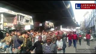 Street vendors protests against Police and Municipal Corporation in Ludhiana