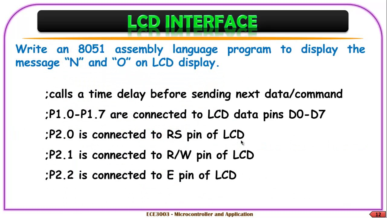 Interfacing 8051 With Lcd Youtube Pin Description For Microcontrollers On