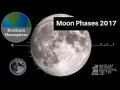 Moon Phases 2017 to Relaxing Music - Northern Hemisphere - Lunar Moon Cycles 2017