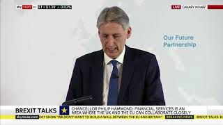 Philip Hammond speaking about financial services in the UK-EU future relationship at HSBC