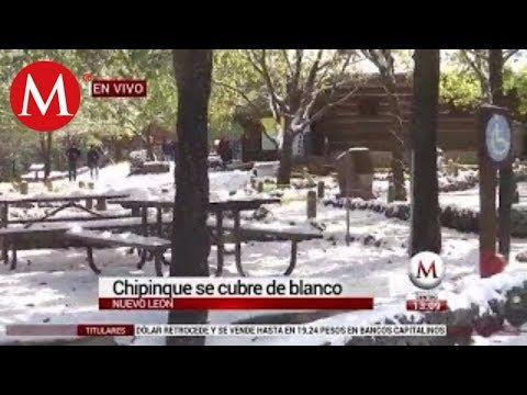 Chipinque se cubre de blanco en Nuevo León
