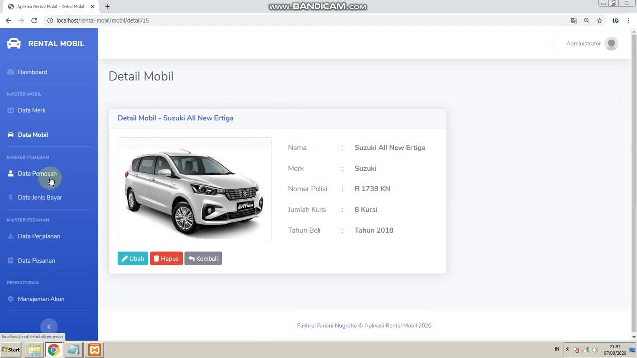 Aplikasi Rental Mobil Berbasis Web Youtube