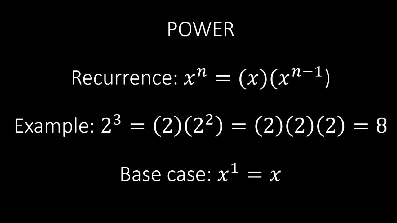 Recursive power function in Python  A simple and easy to code example of  recursion