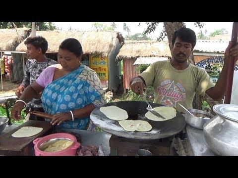 Indian Village Husband Wife Selling Paratha @ 5 rs Only | Street Food Saktigarh , West Bengal