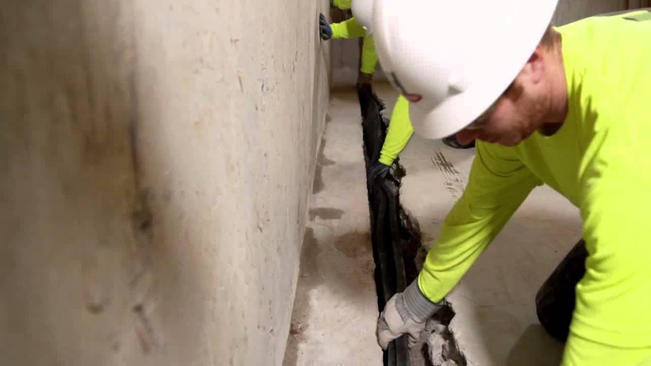 Hydraway 2000 Installation   Waterproofing Companies St  Louis   Wet  Basement Repair St  Louis