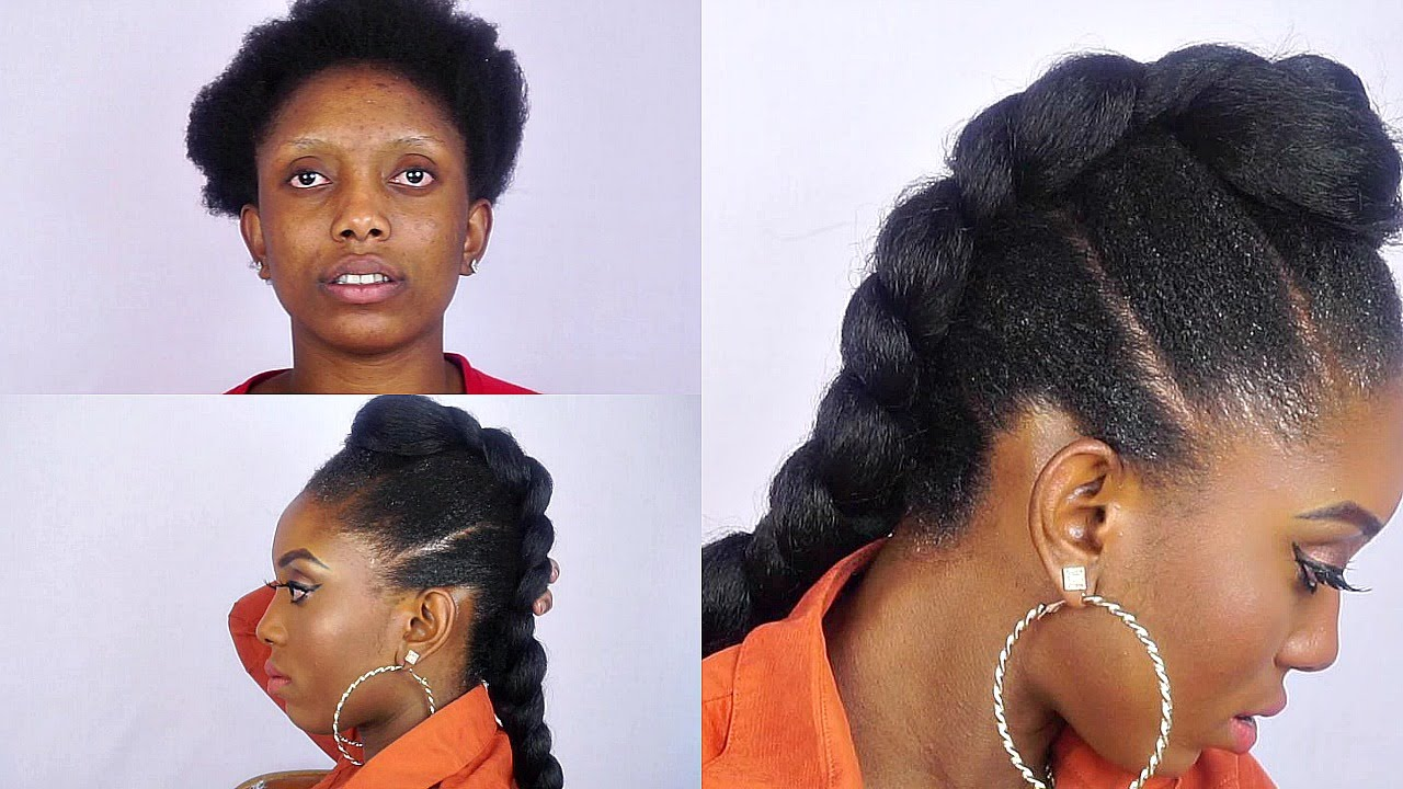 How To Faux Braided Mohawk On Short Natural Hair Youtube