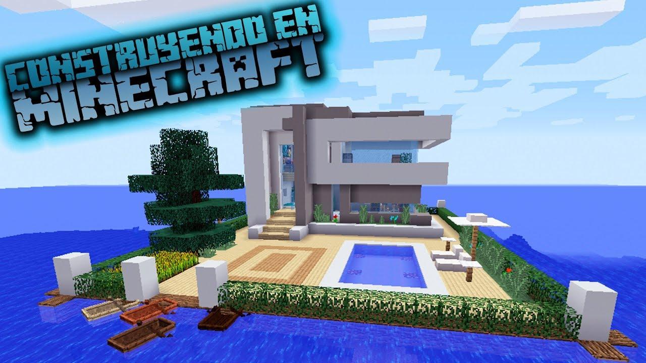 Como hacer una casa sobre el agua de hormig n en minecraft for Como hacer una casa clasica en minecraft