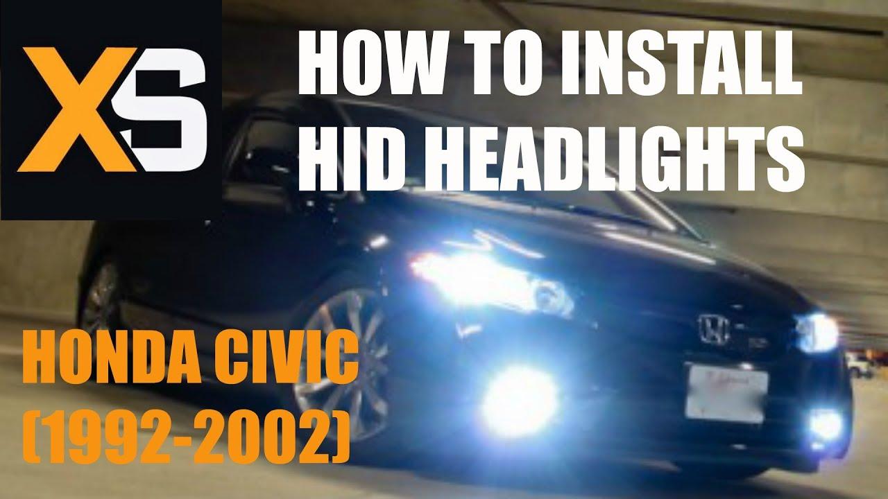Diy Hid Xenon Install Honda Civic 1992 2002 Youtube 9006 Conversion Kit Wiring Diagram