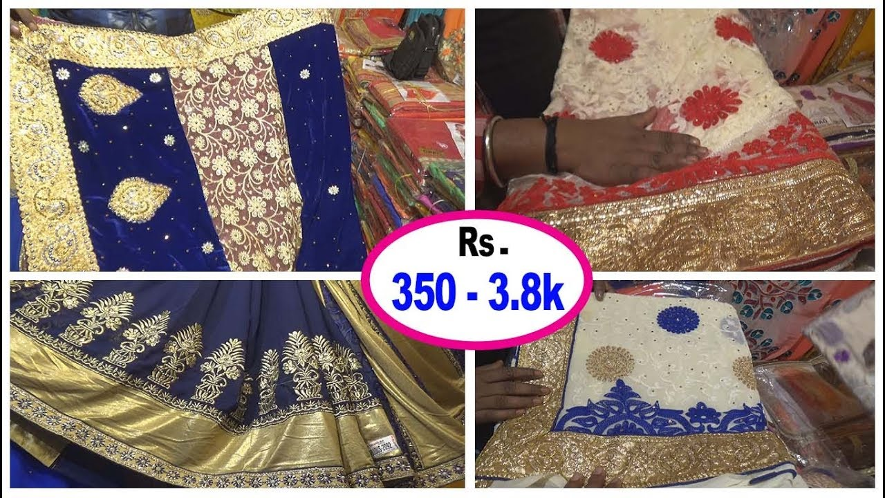 1567aa3644 Fancy Saree Wholesale Market With Price || Kolkata - YouTube