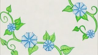 Flower drawing (Morning Glory) Time Lapse!