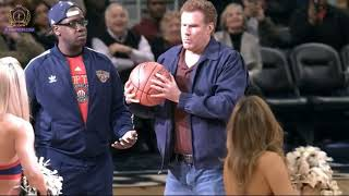 Staged: Will Ferrell half-court shot hits cheerleader in the face