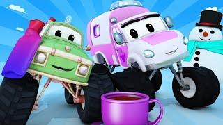 Monster trucks for children - WINTER - Snowman and freezing car  - Monster Town