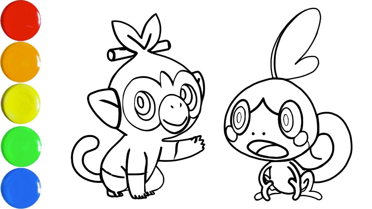 Drawing And Coloring Pokemon Sword And Shield Vẽ Va To Mau Grookey And Sobble Toy Art Tube Youtube Video tutorial showing how to draw grookey pokemon. drawing and coloring pokemon sword and