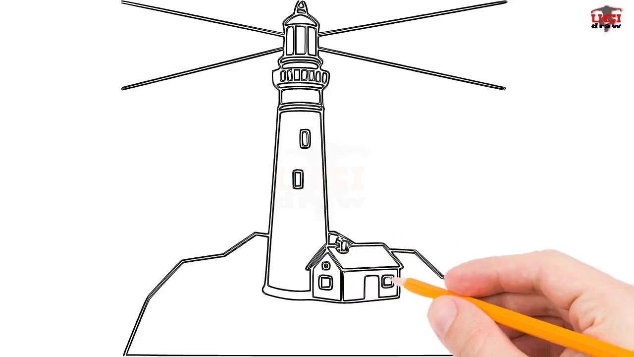 how to draw a lighthouse step by step easy for beginners kids