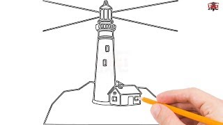 How to Draw a Lighthouse Step by Step Easy for Beginners/Kids – Simple Lighthouses Drawing Tutorial