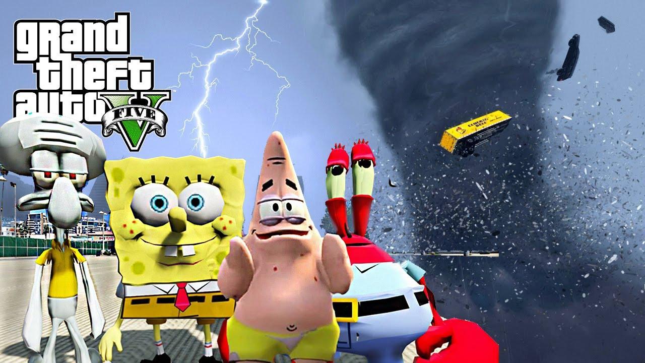 Spongebob Crew Survival Tornado Destroys Los Santos Gta  End Of Los Santos Mod