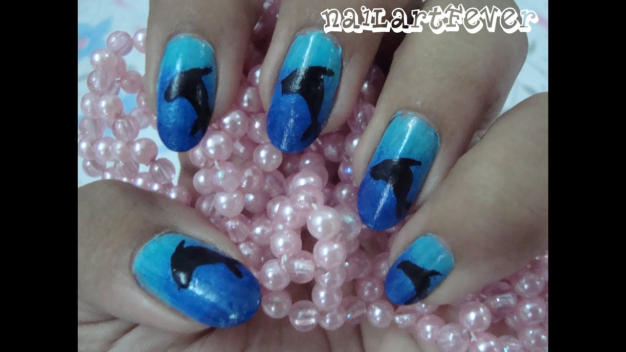 Cute Dolphin nails ! - YouTube