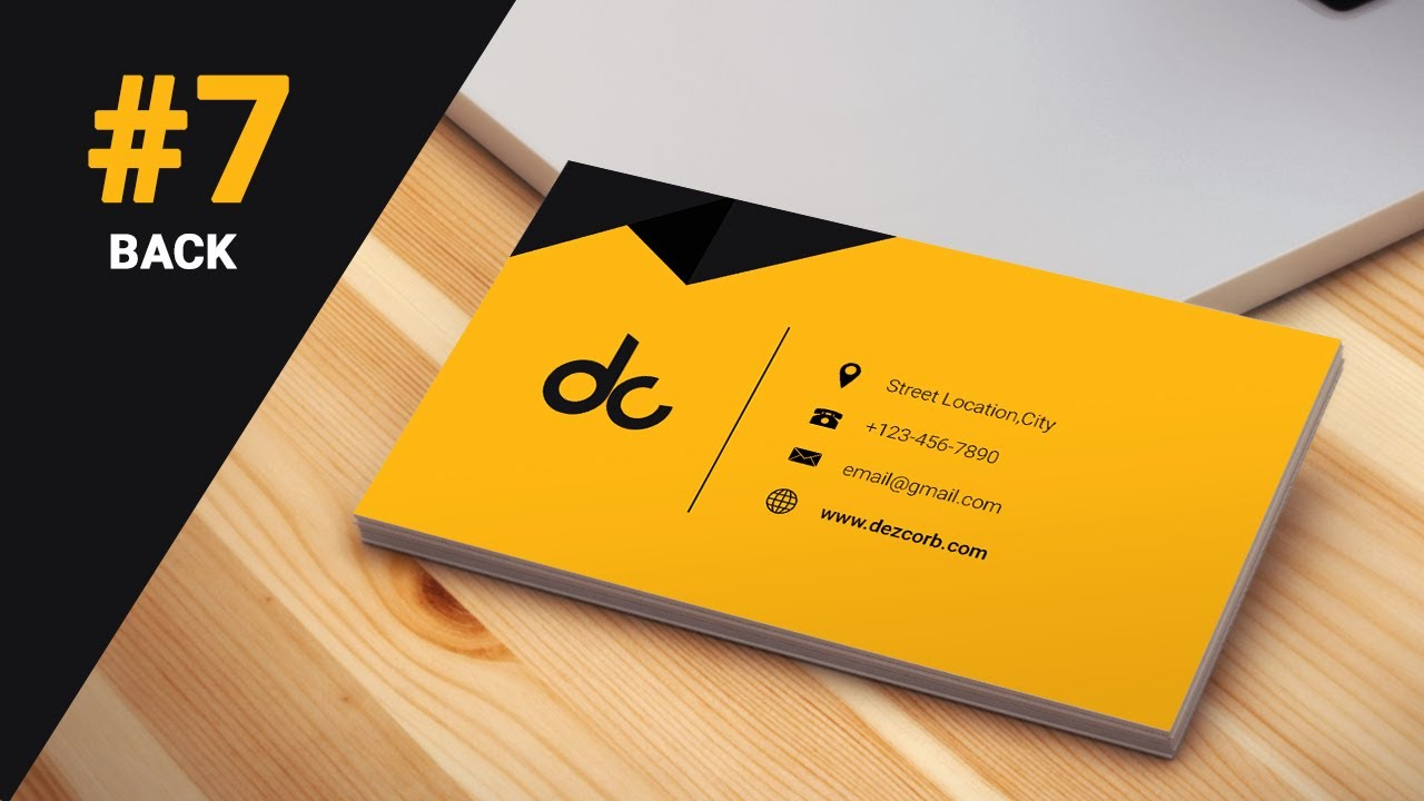 7 how to design business cards in photoshop cs6 3d flat design back - Back Of Business Card
