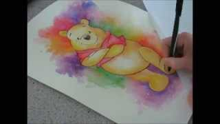 Watercolor Winnie the Pooh - Speed painting by Fiona-Clarke.com