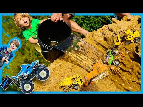 Trucks for Kids - Monster Truck and Construction Truck Waterfall