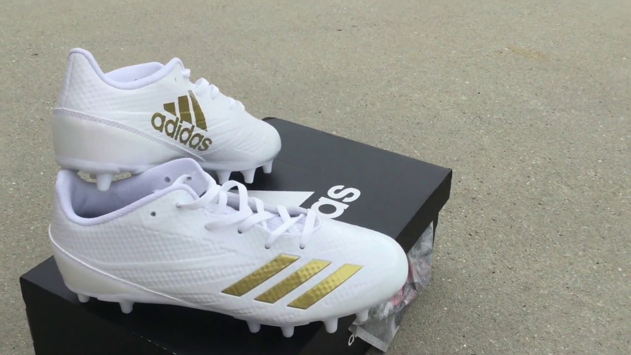 adidas Adizero 5-Star 6.0 Cleat - Kid s Football Gold and White SKU  BY3118  RevUpSports.com 638d28dd3
