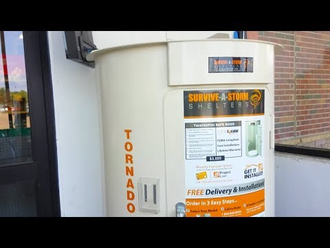 Tornado twisterpod safe room at home depot youtube for Buy safe room