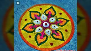 Rangoli designs with flower and colours