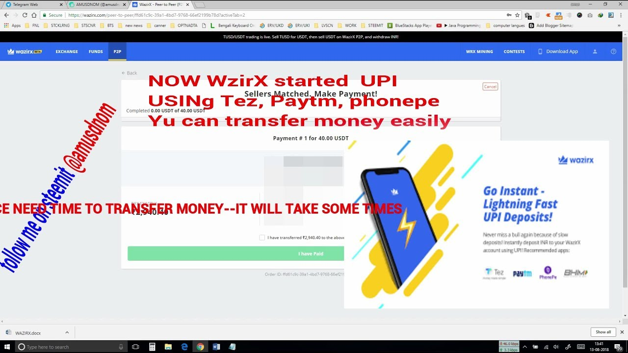 How To Transfer Inr Steemit Account Here Wazirx Comes Into Vital Play Part 3