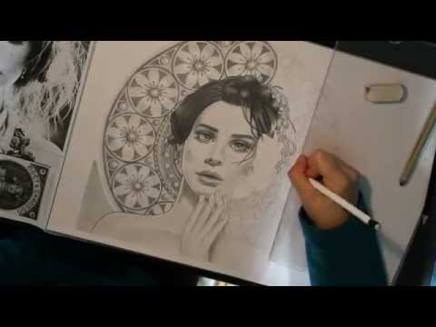Time-lapse drawing: Art Nouveau Lana Del Rey