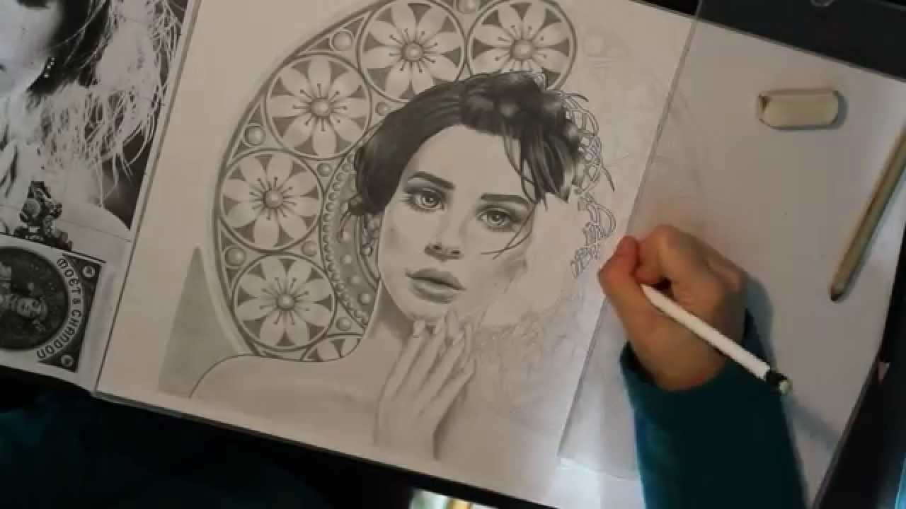 Time Lapse Drawing Art Nouveau Lana Del Rey Youtube