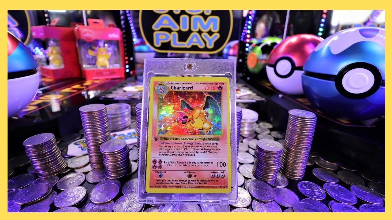 Base Set 1st Edition Charizard Pokémon worth $Thousands$! Inside a Coin Pusher
