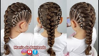 Hairstyle for girls with French braids and side silicone elastics