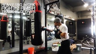 Hitting the Heavy Bag with 16 Ounce Fight 2 Finish Boxing Gloves