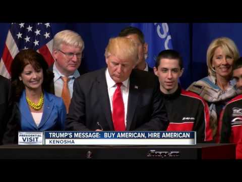 "Thumbnail: President Trump signs executive order to ""Buy American, Hire American"" in Kenosha"