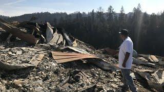 WRECKAGE OF MAYACAMAS RANCH: KCBS' Doug Sovern walks through the wreckage of Mayacamas Ranch