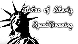 Drawing Statue of Liberty (pen drawing)