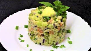 Постный салат Оливье с кальмарами - нежный, сытный и очень вкусный!