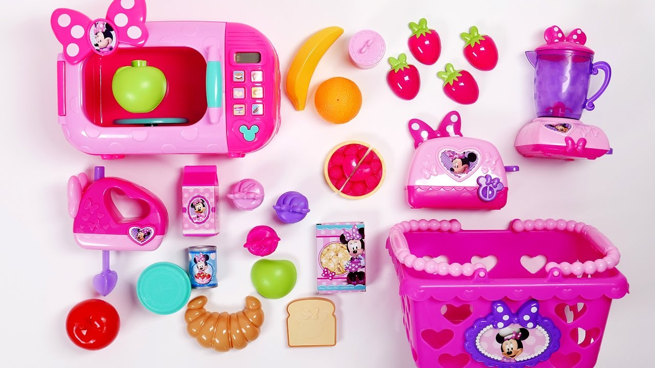 wonderful New Minnie Mouse Toys Part - 12: Minnie Mouse Toys Microwave Blender Mixer Toaster Groceries Basket Cooking  Playset Toys for Children