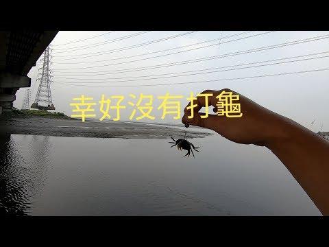 2019/09/13溫仔港前打,第一隻螃蟹第一竿就釣到了。