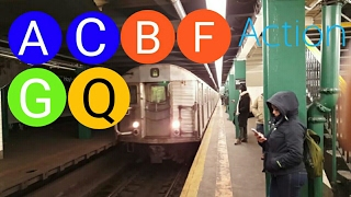 nyc subway 46 a c b f g q train action with r32 a train nis r46 a train
