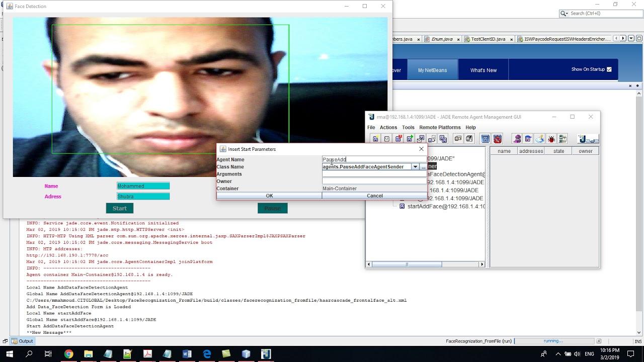 Real Time Face Detection & Recognition Jade Based Java Agent DEvelopment  Framework Demo