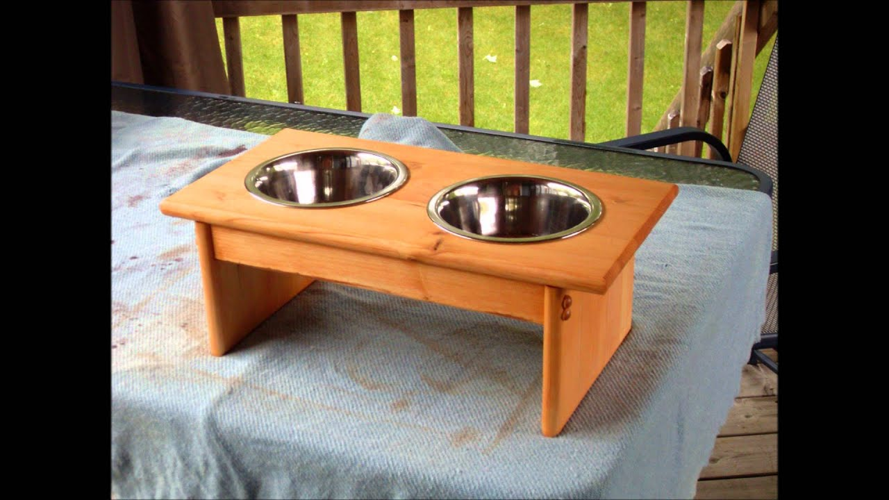 wooden dog bowl stands - YouTube