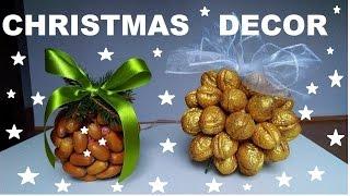 DIY  kule z orzechów ,dekoracje na Boże  Narodzenie