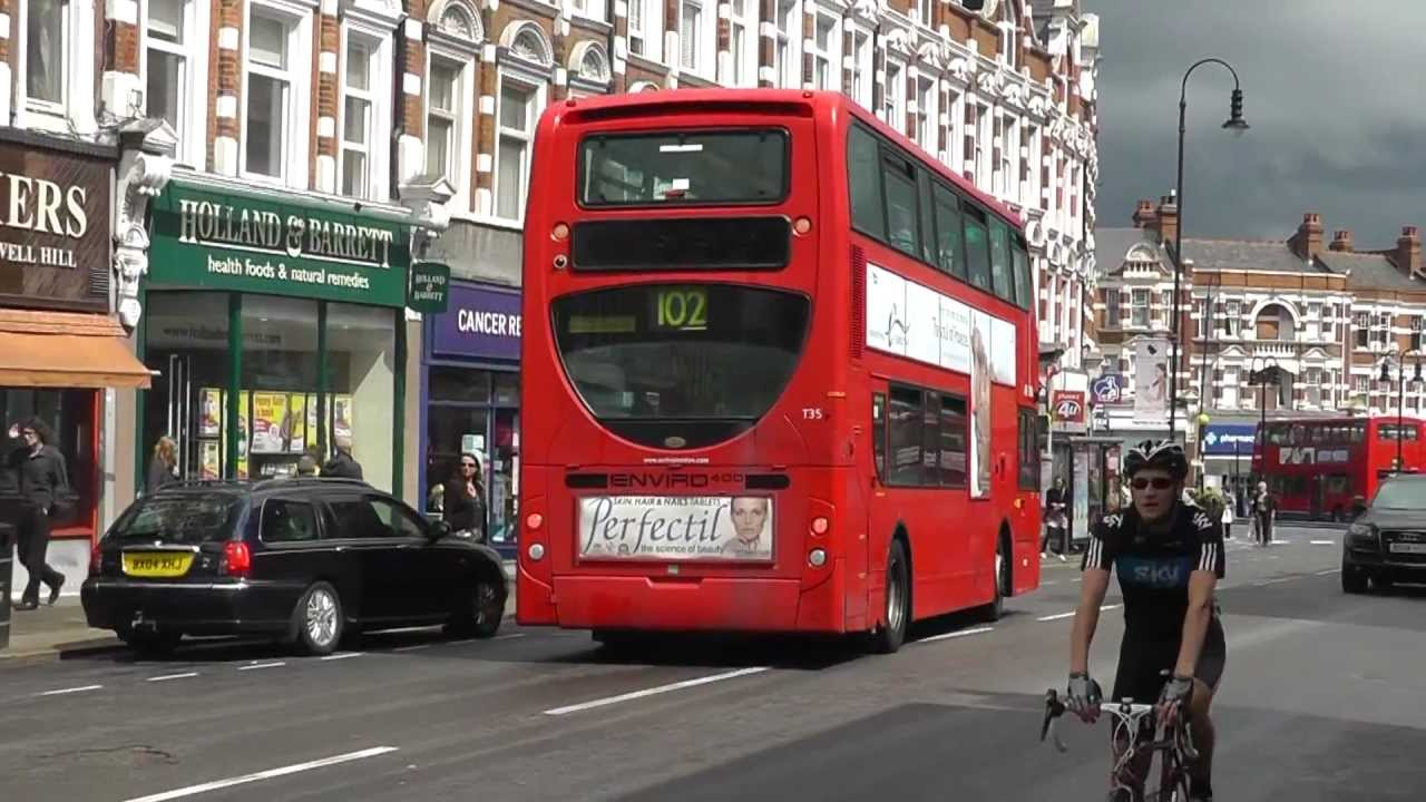 Arriva buses at work on route 102 in Muswell Hill on 4th August 2012