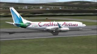 Caribbean Airlines 737-800 Arrives Port Of Spain-Tobago (FS2004)
