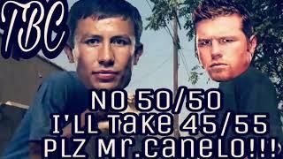 Team GGG crawls back to Canelo Alvarez Again asking for 45/55 Split to save their WBC Belt!!!