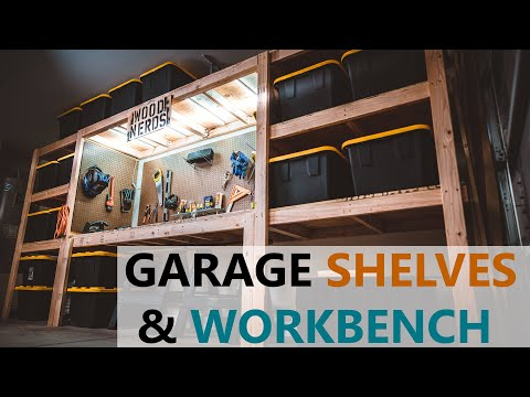 diy-garage-shelves-/-shelf-/-workbench-/-storage-/-industrial