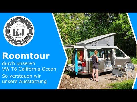 Roomtour durch unseren VW T6 California Ocean - So verstauen wir unsere Ausstattung